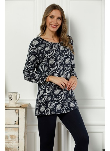 Siyah İnci Omuzları Lastikli Pamuklu Likralı Taytlı Pijama Takım Lacivert